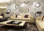 Não - papel de parede removível moderno tecido geométrico com círculos preto e branco