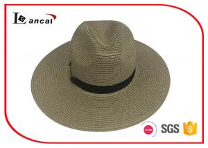 China Chocolate Wide Brimmed Straw Hat , 2 cm Black Ribbon Band Womens Summer Hats on sale