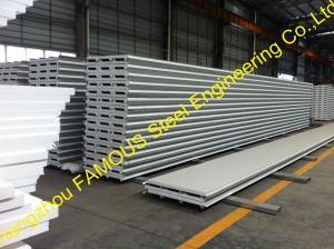 China Fiberglass Rockwool Insulated Sandwich Panels , Prefabricated Roof Wall on sale