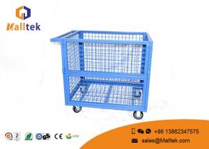 China Heavy Duty Storage Supermarket Roll Cages Galvanized Wire Mesh Steel Metal on sale