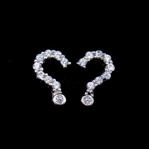 China Question Mark Earrings Creative 925 Silver With Zirconia For Lady / Girl on sale