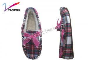 China Plaid bow shallow mouth flat Moccasin House Shoes Fashion TPR Outsole Material on sale
