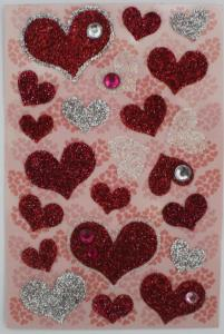 China DIY Crystal Sparkly Heart Shaped Stickers , Kids Red Glitter Heart Stickers on sale