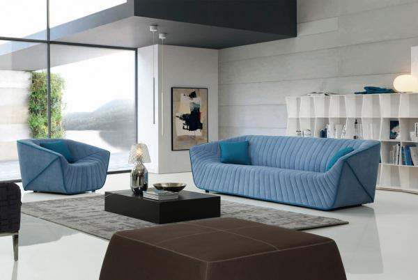 Modern Hotel Lobby Sofas , Color Combination Fabric Sofa , Blue Fabric Sofas