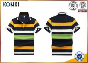 China 200 Grams 100% Cotton Stripes Print Style Customized Embroidered Polo Shirts For Mens on sale