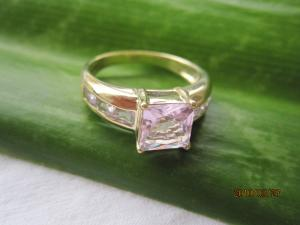 China 14k yellow gold ring,rose quartz ring,gold jewelry,fine jewelry on sale