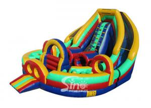 China Outdoor Commercial Grade Kids Big Inflatable Obstacle With Double Slide Fit For Inflatable Rental on sale