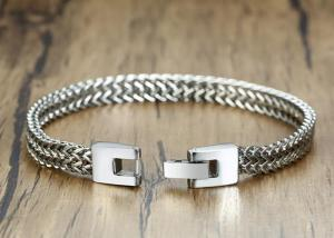China High Polish Stainless Steel Keel Chain Link Mens Silver Clasp Bracelet on sale