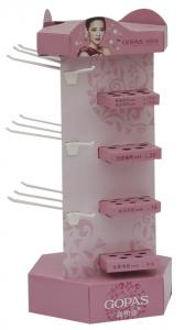 China Small 4 Tiers Cardboard Display Stands Corrugated with Hooks for Earbuds Hanging on sale