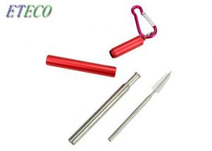 China Eco-friendly Reusable Metal Collapsible Folding Telescopic Stainless steel Straws Outdoor Portable on sale