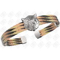 Fashionable Leopard Head Stainless Steel Bracelets , Multi Tone Steel Cable Bracelets