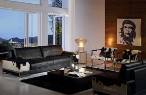 Quality European Black Luxury Leather Sofas , Luxury  cowhide leather sofa for sale