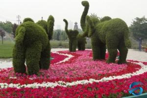 China Vertical Green Artificial Topiary Trees Grass Statue Vivid Elephant Shape on sale