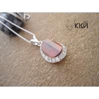 Fashion Jewelry 925 Sterling Silver Gemstone Pendant with Red Zircon W-VB902