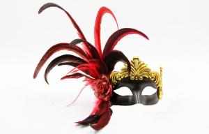 China Mens Elegant Feather Masquerade Mask For Christmas / Halloween on sale