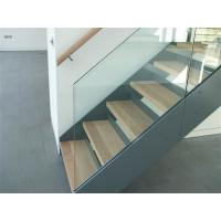 China Simple Design Straight Wooden Staircase With Tempered Glass Railing /  Double Beam Steel Stairs On .