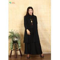 Long Sleeves Black Chinese Style Ladies Jackets , Female Cotton Jacket Coat