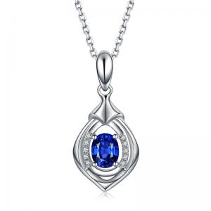 China Sapphire And Diamond Necklace White Gold , Blue Sapphire Wedding Necklace on sale