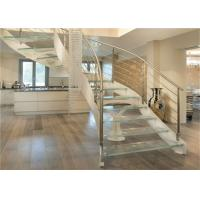 Interior Wrought Iron Curved Wooden Staircase , Floating Wood Stairs Customize Size