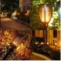 Rechargeable Solar Powered Motion Sensor Light LED Flickering landscape Flame Torch