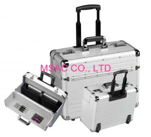 China Sliver Travel Aluminum Attache Case / Computer Carrying Cases With Trolley on sale