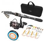 Black Durable Nylon + EVA Material Fishing Rod Case With Handle