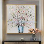Thick Texture Floral Oil Paintings Palette Knife Flowers Art Painting on Linen Canvas