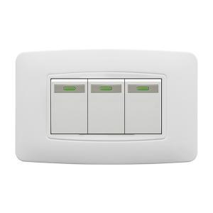 China White 3 Gang Two Way Light Switch , Single Pole 3 Gang Intermediate Switch on sale