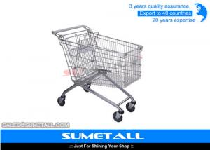 China Rolling Supermarket Shopping Trolley 4 Wheels Metal Grocery Cart Customized on sale