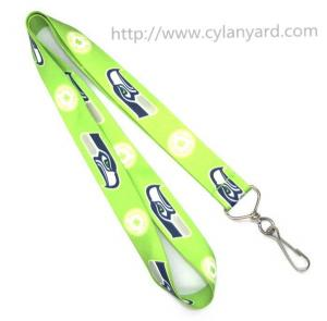 China Cheap CMYK colorful print lanyard with metal swivel J hook, simple cheap logo neck lanyard on sale