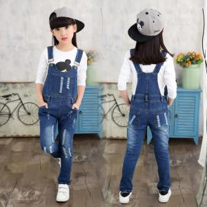 China Customized Size Kids / Toddler Overalls Jeans With Patches Dark Blue Vintage Wash on sale