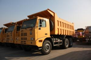China Yellow Heavy Duty Dump Truck / 10 Wheeler Dump Truck With Steel Cargo Box on sale