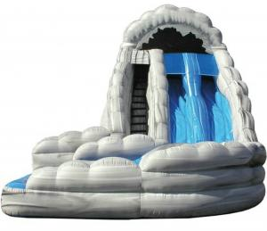 China Dual Lane Curved Kids Inflatable Water Slide With Landing Enviroment - Friendly on sale