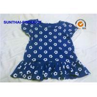 China 100% Cotton Jersey Cap Sleeve Summer Dress Flower AOP Round Neck With Ruffle Hem Skirt on sale