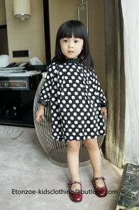 China Etonzoe Kids One Piece Dress Woolen Dress Girls Fashion Dress Whie dot Clothes on sale