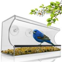 China Birdscapes window bird feeder House shaped clear acrylic bird feeder on sale
