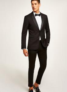 Satin Lapels Skinny Black Tuxedo Suits For Mens , Matching
