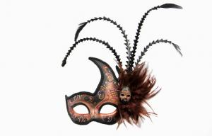 China Gorgeous Feather Masquerade Mask , Brown Venetian Masks For Prom on sale