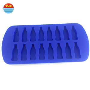 China Large personalized Cola Coke bottle shape custom silicone ice cube tray mold on sale