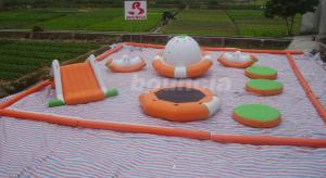China 0.9mm PVC Tarpaulin Inflatable Water Park For Kids / Water Inflatable Park With Slide on sale