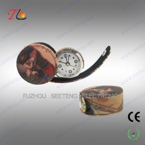 China Fashion desktop decarational leather travel alarm Clock with printing images on sale