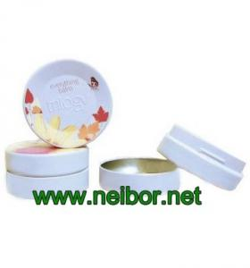 China Round Lip balm tin box 45ML 95ML lip gloss tin container with embossing on sale