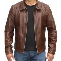 Windproof special and charming brown Fleece Lined Leather jacket for men
