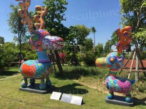 China Colorful Deer Fiberglass Animal Sculptures 2 Meters Height For Lawn Decor on sale