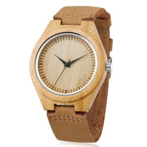 China Fashion Design Wooden Quartz Watch , Leather Strap Japan Movement Bamboo Wrist Watch on sale