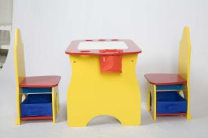 China Children Wooden Desk With Storage And 2 Chair With Fabric Bins on sale
