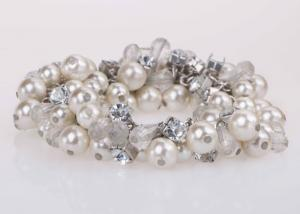 China Costume Jewelry Pearl And Diamond Bangle Bracelet For Graduation Party / Anniversary on sale