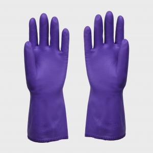 China Purple Vinyl Insulated PVC Gloves Large For Man With Beaded Cuff , Durable on sale