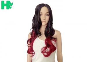 China Sexy Fascinating Long Synthetic Wigs Mixed Red Wig 22 Inches , Long Wavy Hair Style on sale