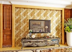 China Luxurious Modern Style Wallpaper with Removable Gold Foil Material , Geometric Pattern on sale